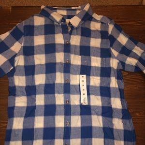 Blue and white buffalo print button down NWOT